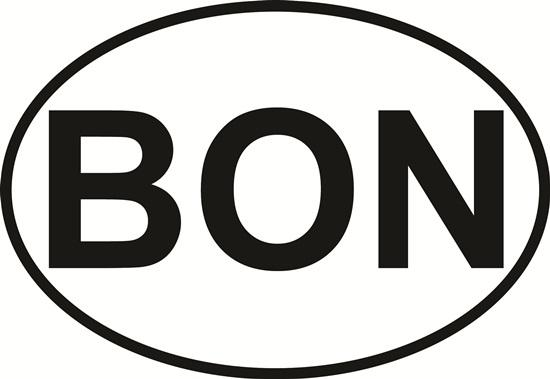 Bonaire decal from Oval Envy.  Great price for a durable vinyl decal.  We've got animals, beaches, dogs, cats and more!  Search our catalog for your next Euro Oval Decal.