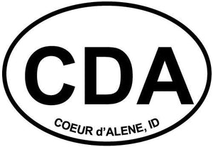 Coeur d'Alene, ID decal from Oval Envy.  Great price for a durable vinyl decal.  We've got animals, beaches, dogs, cats and more!  Search our catalog for your next Euro Oval Decal.