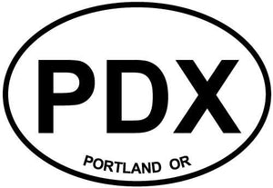 Portland, OR decal from Oval Envy.  Great price for a durable vinyl decal.  We've got animals, beaches, dogs, cats and more!  Search our catalog for your next Euro Oval Decal.