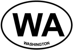 Washington (WA) decal from Oval Envy.  Great price for a durable vinyl decal.  We've got animals, beaches, dogs, cats and more!  Search our catalog for your next Euro Oval Decal.