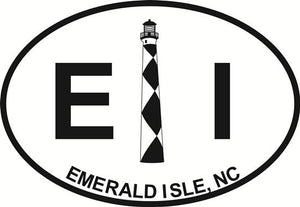 Emerald Isle Lighthouse decal from Oval Envy.  Great price for a durable vinyl decal.  We've got animals, beaches, dogs, cats and more!  Search our catalog for your next Euro Oval Decal.