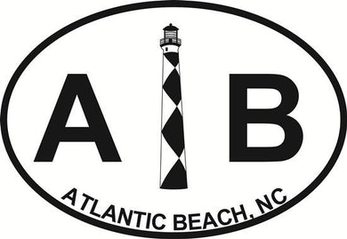 Atlantic Beach Lighthouse decal from Oval Envy.  Great price for a durable vinyl decal.  We've got animals, beaches, dogs, cats and more!  Search our catalog for your next Euro Oval Decal.