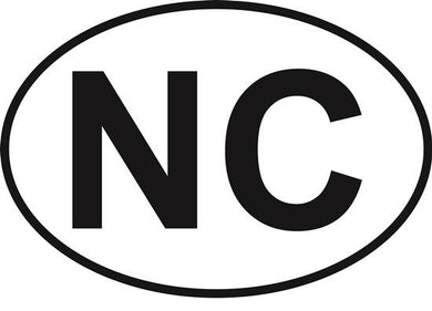 North Carolina (NC) decal from Oval Envy.  Great price for a durable vinyl decal.  We've got animals, beaches, dogs, cats and more!  Search our catalog for your next Euro Oval Decal.