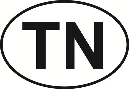 Tennessee (TN) decal from Oval Envy.  Great price for a durable vinyl decal.  We've got animals, beaches, dogs, cats and more!  Search our catalog for your next Euro Oval Decal.