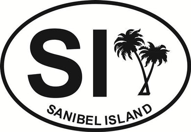 Palm Trees (Sanibel Island) decal from Oval Envy.  Great price for a durable vinyl decal.  We've got animals, beaches, dogs, cats and more!  Search our catalog for your next Euro Oval Decal.