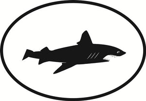 Shark decal from Oval Envy.  Great price for a durable vinyl decal.  We've got animals, beaches, dogs, cats and more!  Search our catalog for your next Euro Oval Decal.