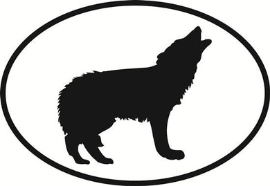 Wolf decal from Oval Envy.  Great price for a durable vinyl decal.  We've got animals, beaches, dogs, cats and more!  Search our catalog for your next Euro Oval Decal.