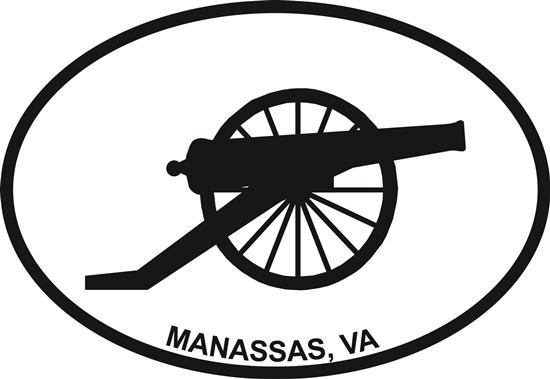 Manassas decal from Oval Envy.  Great price for a durable vinyl decal.  We've got animals, beaches, dogs, cats and more!  Search our catalog for your next Euro Oval Decal.