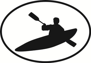 Kayaking decal from Oval Envy.  Great price for a durable vinyl decal.  We've got animals, beaches, dogs, cats and more!  Search our catalog for your next Euro Oval Decal.