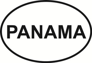 Panama decal from Oval Envy.  Great price for a durable vinyl decal.  We've got animals, beaches, dogs, cats and more!  Search our catalog for your next Euro Oval Decal.