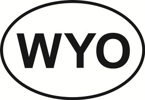 Wyoming decal from Oval Envy.  Great price for a durable vinyl decal.  We've got animals, beaches, dogs, cats and more!  Search our catalog for your next Euro Oval Decal.