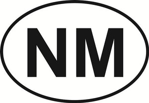 New Mexico (NM) decal from Oval Envy.  Great price for a durable vinyl decal.  We've got animals, beaches, dogs, cats and more!  Search our catalog for your next Euro Oval Decal.