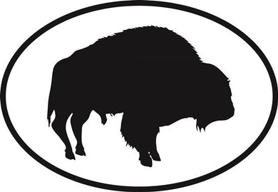 Buffalo decal from Oval Envy.  Great price for a durable vinyl decal.  We've got animals, beaches, dogs, cats and more!  Search our catalog for your next Euro Oval Decal.