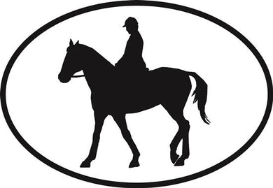 Equestrian decal from Oval Envy.  Great price for a durable vinyl decal.  We've got animals, beaches, dogs, cats and more!  Search our catalog for your next Euro Oval Decal.