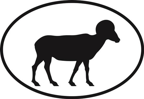 Bighorn Sheep decal from Oval Envy.  Great price for a durable vinyl decal.  We've got animals, beaches, dogs, cats and more!  Search our catalog for your next Euro Oval Decal.