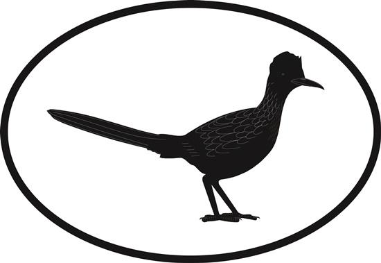 Roadrunner decal from Oval Envy.  Great price for a durable vinyl decal.  We've got animals, beaches, dogs, cats and more!  Search our catalog for your next Euro Oval Decal.