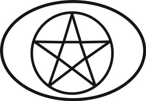 Pentacle decal from Oval Envy.  Great price for a durable vinyl decal.  We've got animals, beaches, dogs, cats and more!  Search our catalog for your next Euro Oval Decal.