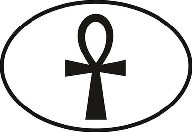 Ankh decal from Oval Envy.  Great price for a durable vinyl decal.  We've got animals, beaches, dogs, cats and more!  Search our catalog for your next Euro Oval Decal.
