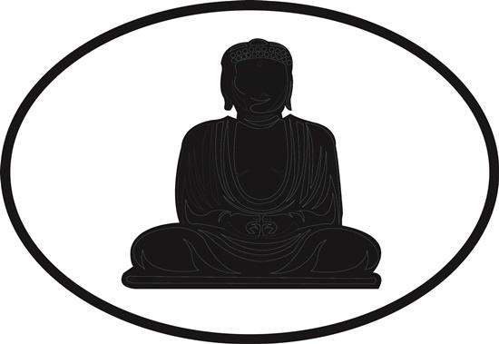 Buddha decal from Oval Envy.  Great price for a durable vinyl decal.  We've got animals, beaches, dogs, cats and more!  Search our catalog for your next Euro Oval Decal.