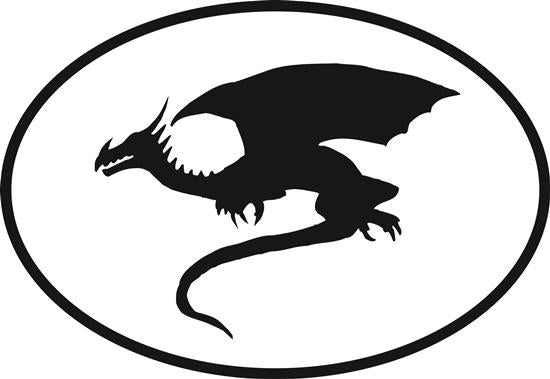 Dragon decal from Oval Envy.  Great price for a durable vinyl decal.  We've got animals, beaches, dogs, cats and more!  Search our catalog for your next Euro Oval Decal.