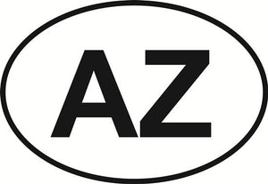 Arizona (AZ) decal from Oval Envy.  Great price for a durable vinyl decal.  We've got animals, beaches, dogs, cats and more!  Search our catalog for your next Euro Oval Decal.
