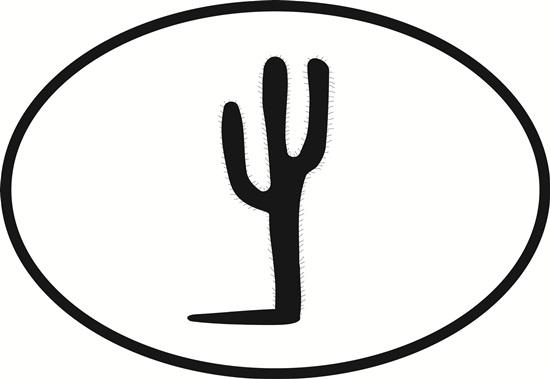 Saguaro Cactus decal from Oval Envy.  Great price for a durable vinyl decal.  We've got animals, beaches, dogs, cats and more!  Search our catalog for your next Euro Oval Decal.