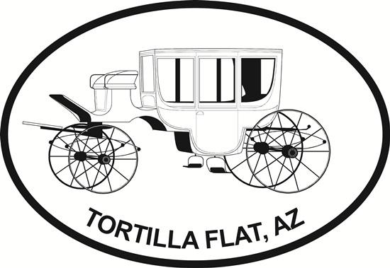 Stagecoach (Tortilla Flat) decal from Oval Envy.  Great price for a durable vinyl decal.  We've got animals, beaches, dogs, cats and more!  Search our catalog for your next Euro Oval Decal.