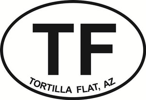 Tortilla Flat decal from Oval Envy.  Great price for a durable vinyl decal.  We've got animals, beaches, dogs, cats and more!  Search our catalog for your next Euro Oval Decal.