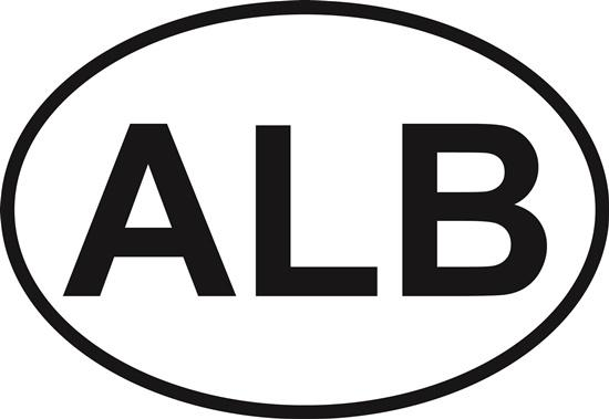 Albuquerque (ALB) decal from Oval Envy.  Great price for a durable vinyl decal.  We've got animals, beaches, dogs, cats and more!  Search our catalog for your next Euro Oval Decal.