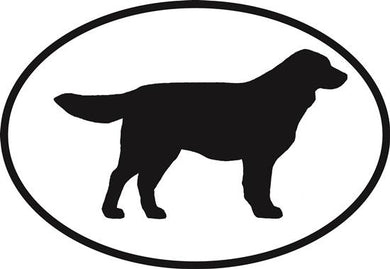 Golden Retriever decal from Oval Envy.  Great price for a durable vinyl decal.  We've got animals, beaches, dogs, cats and more!  Search our catalog for your next Euro Oval Decal.