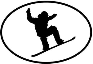 Snowboarding2 decal from Oval Envy.  Great price for a durable vinyl decal.  We've got animals, beaches, dogs, cats and more!  Search our catalog for your next Euro Oval Decal.