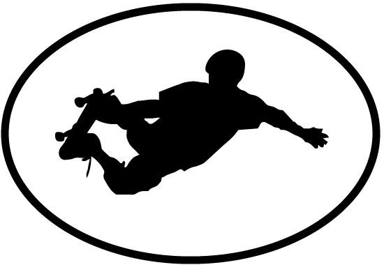 Skateboarding2 decal from Oval Envy.  Great price for a durable vinyl decal.  We've got animals, beaches, dogs, cats and more!  Search our catalog for your next Euro Oval Decal.