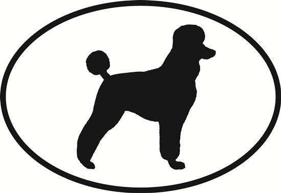 Poodle decal from Oval Envy.  Great price for a durable vinyl decal.  We've got animals, beaches, dogs, cats and more!  Search our catalog for your next Euro Oval Decal.