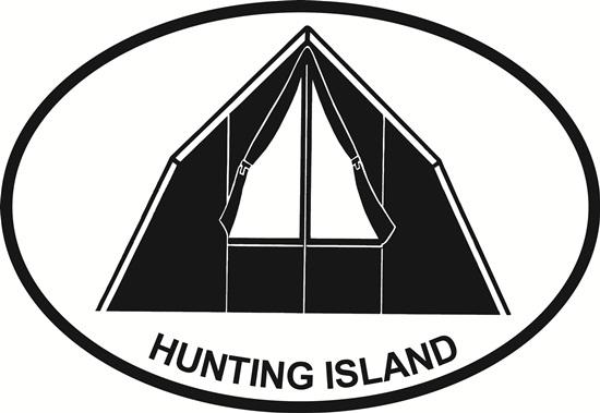 Hunting Island Camping decal from Oval Envy.  Great price for a durable vinyl decal.  We've got animals, beaches, dogs, cats and more!  Search our catalog for your next Euro Oval Decal.