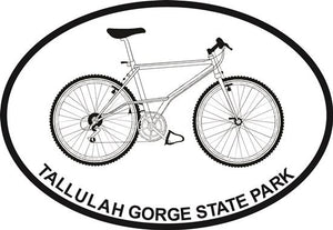 Bike (Tallulah Gorge) decal from Oval Envy.  Great price for a durable vinyl decal.  We've got animals, beaches, dogs, cats and more!  Search our catalog for your next Euro Oval Decal.