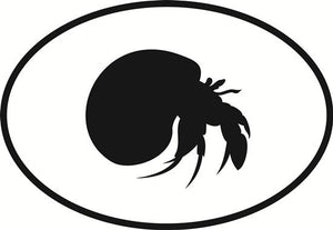 Hermit Crab decal from Oval Envy.  Great price for a durable vinyl decal.  We've got animals, beaches, dogs, cats and more!  Search our catalog for your next Euro Oval Decal.