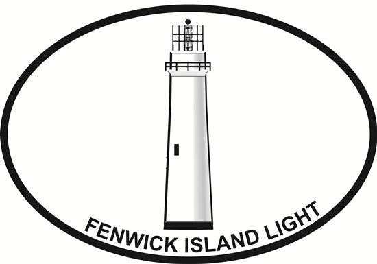Fenwick Island Lighthouse decal from Oval Envy.  Great price for a durable vinyl decal.  We've got animals, beaches, dogs, cats and more!  Search our catalog for your next Euro Oval Decal.