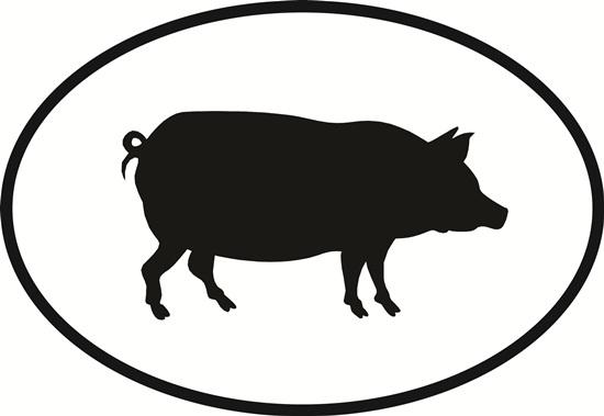 Pig decal from Oval Envy.  Great price for a durable vinyl decal.  We've got animals, beaches, dogs, cats and more!  Search our catalog for your next Euro Oval Decal.