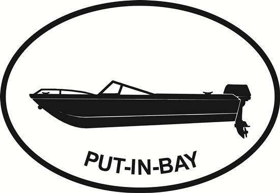 Put-In-Bay Power Boat decal from Oval Envy.  Great price for a durable vinyl decal.  We've got animals, beaches, dogs, cats and more!  Search our catalog for your next Euro Oval Decal.