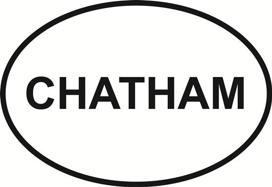 Chatham decal from Oval Envy.  Great price for a durable vinyl decal.  We've got animals, beaches, dogs, cats and more!  Search our catalog for your next Euro Oval Decal.