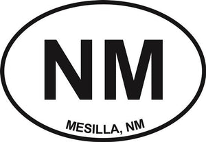 Mesilla, NM decal from Oval Envy.  Great price for a durable vinyl decal.  We've got animals, beaches, dogs, cats and more!  Search our catalog for your next Euro Oval Decal.
