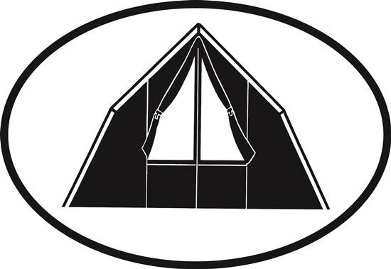 Camping decal from Oval Envy.  Great price for a durable vinyl decal.  We've got animals, beaches, dogs, cats and more!  Search our catalog for your next Euro Oval Decal.