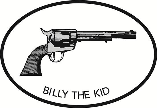 Billy the Kid decal from Oval Envy.  Great price for a durable vinyl decal.  We've got animals, beaches, dogs, cats and more!  Search our catalog for your next Euro Oval Decal.