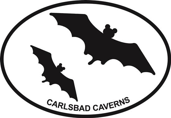Carlsbad Caverns (bats) decal from Oval Envy.  Great price for a durable vinyl decal.  We've got animals, beaches, dogs, cats and more!  Search our catalog for your next Euro Oval Decal.