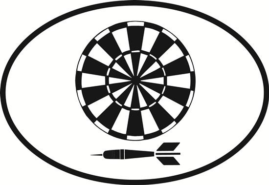 Darts decal from Oval Envy.  Great price for a durable vinyl decal.  We've got animals, beaches, dogs, cats and more!  Search our catalog for your next Euro Oval Decal.