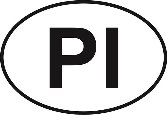 Palm Island (PI) decal from Oval Envy.  Great price for a durable vinyl decal.  We've got animals, beaches, dogs, cats and more!  Search our catalog for your next Euro Oval Decal.