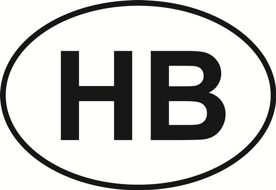 HB decal from Oval Envy.  Great price for a durable vinyl decal.  We've got animals, beaches, dogs, cats and more!  Search our catalog for your next Euro Oval Decal.