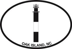 Oak Island Light decal from Oval Envy.  Great price for a durable vinyl decal.  We've got animals, beaches, dogs, cats and more!  Search our catalog for your next Euro Oval Decal.