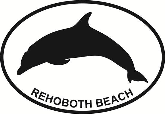 Rehoboth Dolphin decal from Oval Envy.  Great price for a durable vinyl decal.  We've got animals, beaches, dogs, cats and more!  Search our catalog for your next Euro Oval Decal.