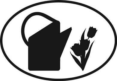 Gardening decal from Oval Envy.  Great price for a durable vinyl decal.  We've got animals, beaches, dogs, cats and more!  Search our catalog for your next Euro Oval Decal.